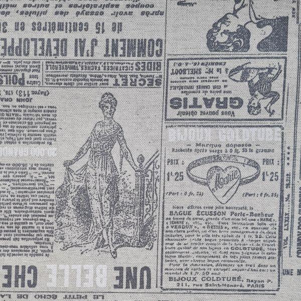 Stoff Meterware Baumwolle beschichtet Zeitung vintage beige anthrazit Tischdecke 0,5