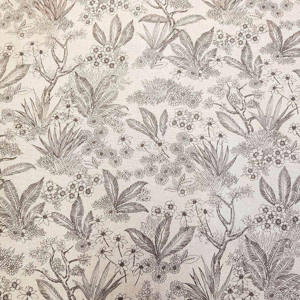 Kurzstück Stoff Meterware beschichtet ecru grau Farn Blumen Wachstuch 0,60m x 1,40m