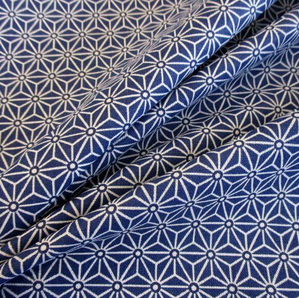Kurzstück Stoff Baumwollstoff Japan Asanoha Grafik blau indigo weiß Kimono 0,50m x 1,60m
