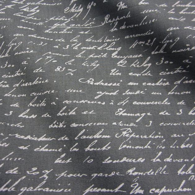 stoff baumwolle anthrazit grau schrift handschrift werthers stoffe stoffe sind unsere. Black Bedroom Furniture Sets. Home Design Ideas