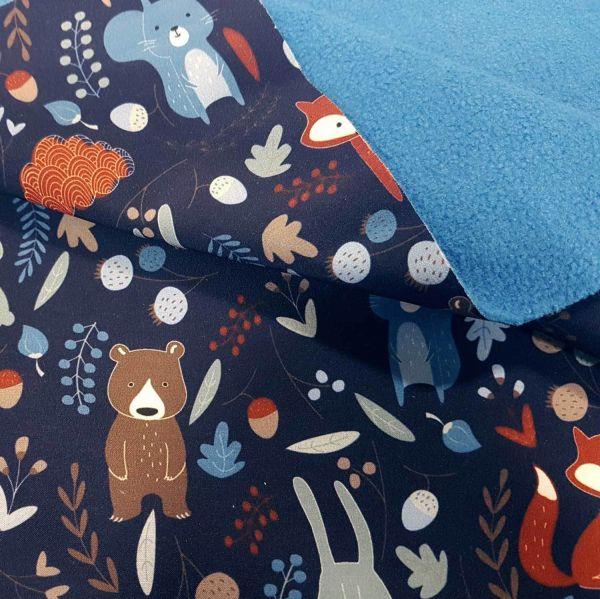 Stoff Meterware Softshell blau Tiere Fuchs Bär Hase Wald wasserabweisend Outdoor