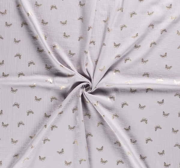 Stoff Baumwolle Schmetterlinge gold hellgrau Musselin Mulltuch 0,5