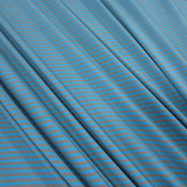 Stoff Baumwolle Jersey grau aqua Streifen Ringel gestreift Meterware