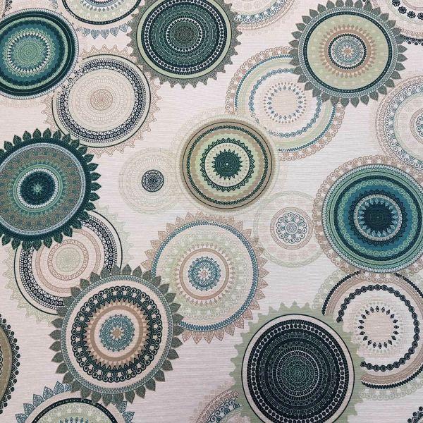 Stoff Meterware beschichtet mint petrol beige Mandala Kreise Wachstuch Tischdecke 0,5