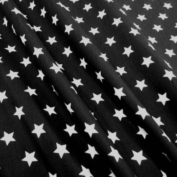 Stoff Baumwollstoff Stern Sterne schwarz weiß 1,5 cm