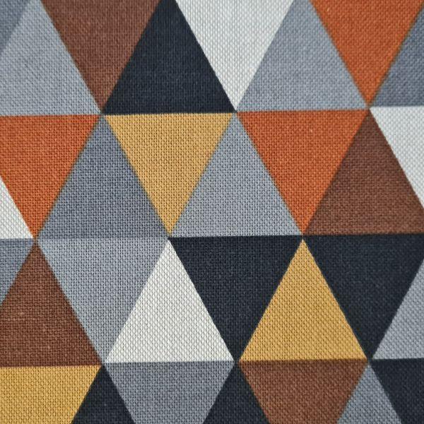 Stoff Meterware Baumwolle pflegeleicht Dreiecke camel brique braun grau natur Deko 0,5