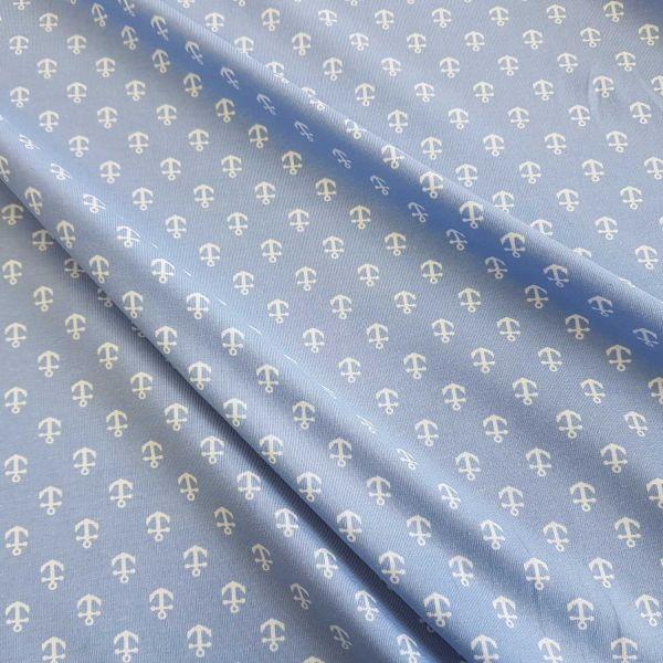 Stoff Jersey Baumwolle Anker hellblau weiss maritim
