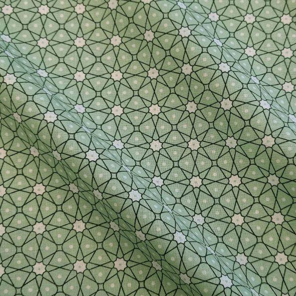 Stoff Baumwollstoff Japan Mosaik Blümchen mint lindgrün Ceramik Kimono 0,5