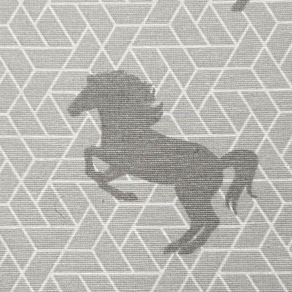 Stoff Baumwollstoff Pferde grau Grafik stabil 0,5