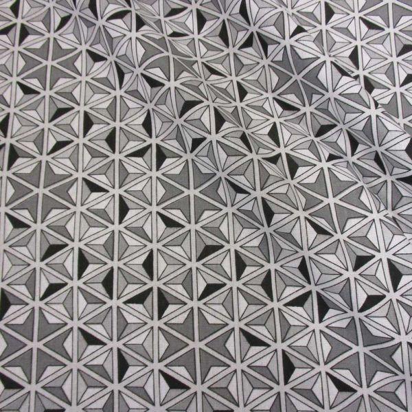 Stoff Baumwolle Grafik Mosaik Kaleidoskop grau schwarz weiß 3D