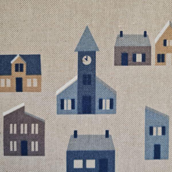 """Stoff Baumwollstoff natur """"nordic town"""" Stadt Häuser scandi Stil 0,5"""