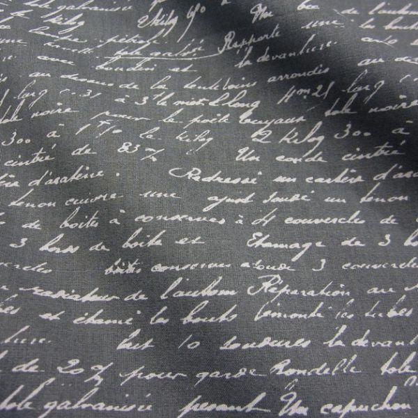 Stoff Baumwolle anthrazit grau Schrift Handschrift