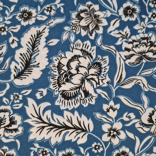 """Stoff Baumwollstoff """"Romania"""" Blumen Ranken jeansblau schwarz weiss 0,5"""
