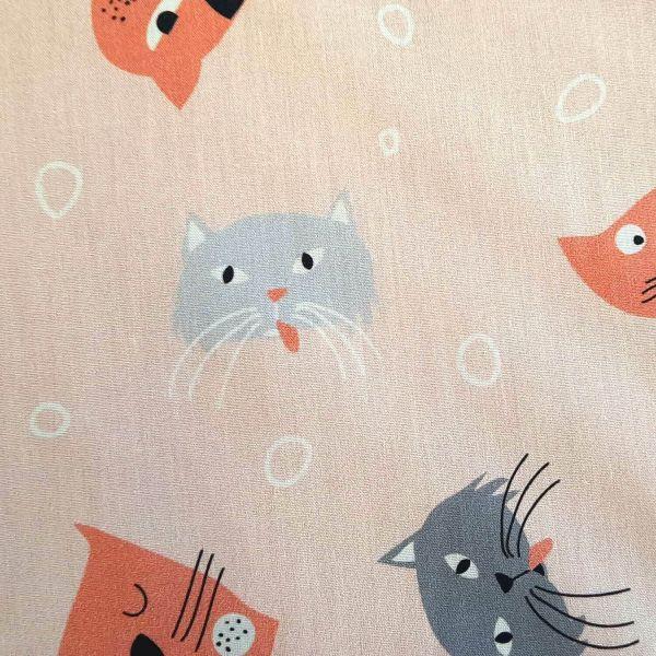 Stoff Baumwolle Percal hellrosa Katzen 0,5