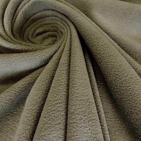 Stoff Meterware Polar Fleece khaki weich warm kuschelig antipilling