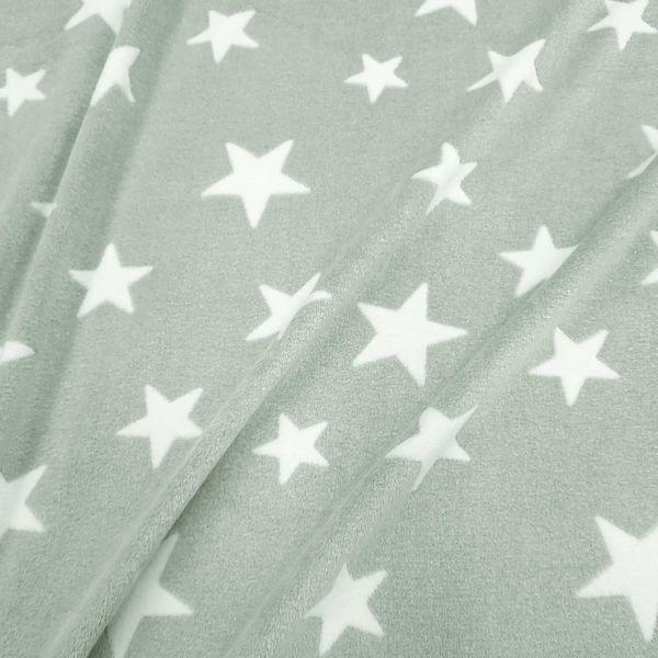 Stoff Meterware Wellness Fleece hell mint weiß Sterne Softplüsch kuschelweich warm