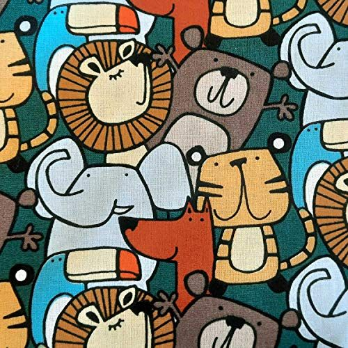 Stoff Baumwolle Meterware Tiere petrol Löwe Elefant Zanimo Retro Kinderstoff 0,5