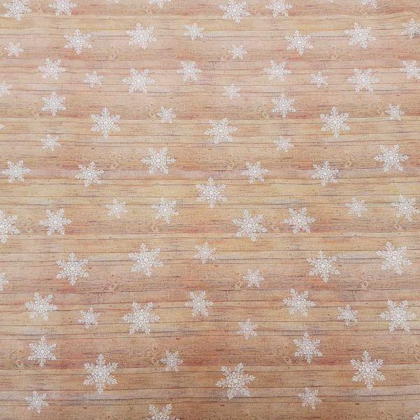 Stoff Baumwolle Percal Holzoptik mit Eiskristallen