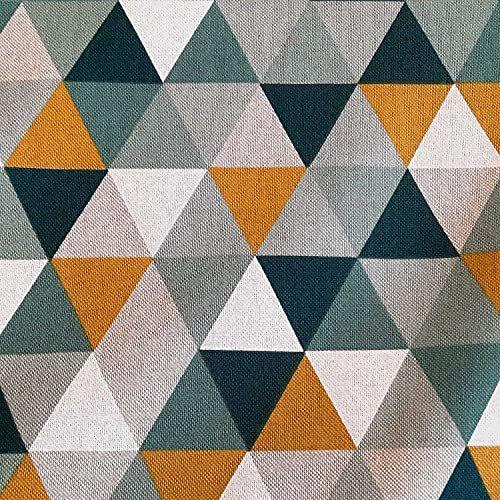 Stoff Meterware Baumwolle pflegeleicht Dreiecke mint safran petrol Deko 0,5