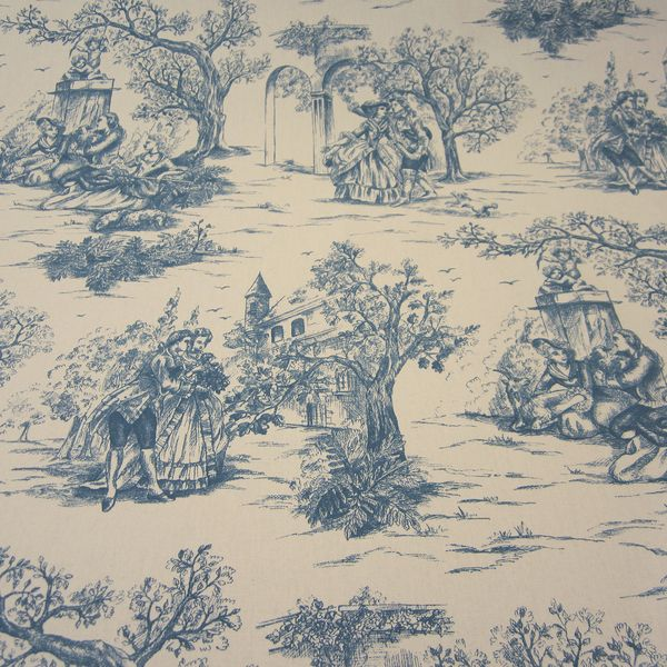 stoff toile de jouy baumwolle blau natur rips werthers. Black Bedroom Furniture Sets. Home Design Ideas
