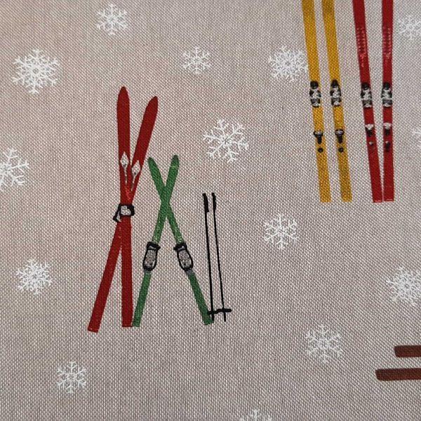 Stoff Meterware Baumwolle pflegeleicht natur Ski Skifahren Wintersport 0,5