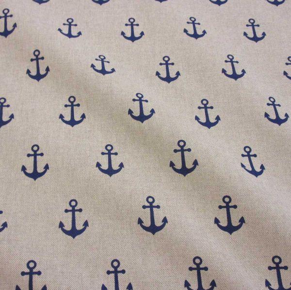 Kurzstück Stoff Baumwollstoff maritim Anker blau natur 0,90m x 1,40m