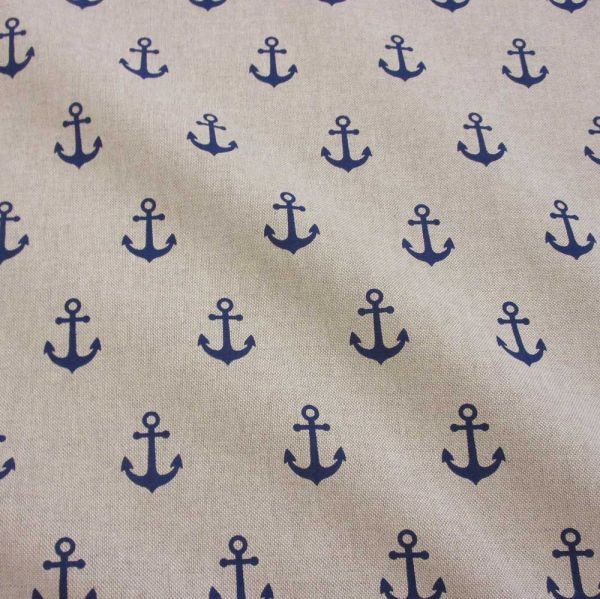 Stoff Baumwollstoff maritim Anker blau natur 0,5