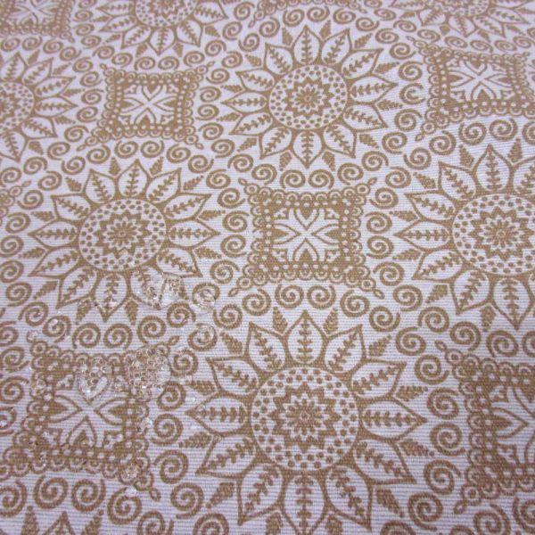 Stoff beschichtet wasserfest Mandala beige ecru neu