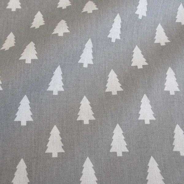 Stoff Baumwolle Tannenbaum Tanne grau weiß