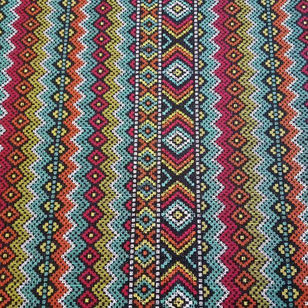 Stoff Meterware Baumwolle Zickzack Streifen Mexiko orange türkis schwarz bunt