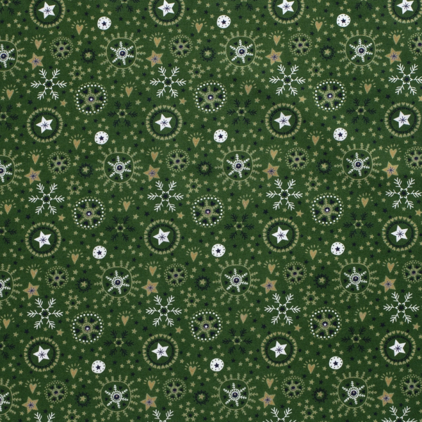 Stoff Meterware Baumwolle grün weiss gold Schneeflocken Eiskristalle 0,5