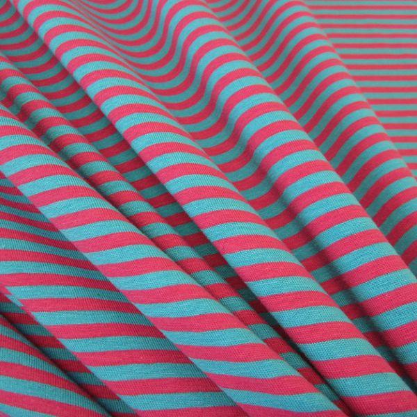 Stoff Baumwolle Jersey Streifen Ringel pink aqua gestreift Meterware