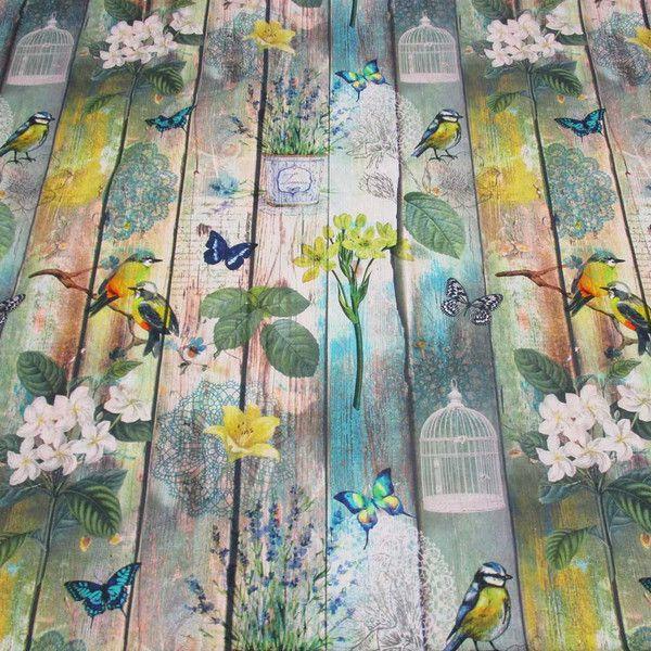 Kurzstück Stoff Baumwolle Vogel Blumen Schmetterling Vogelkäfig Holz Shabby 0,90m x 1,40m