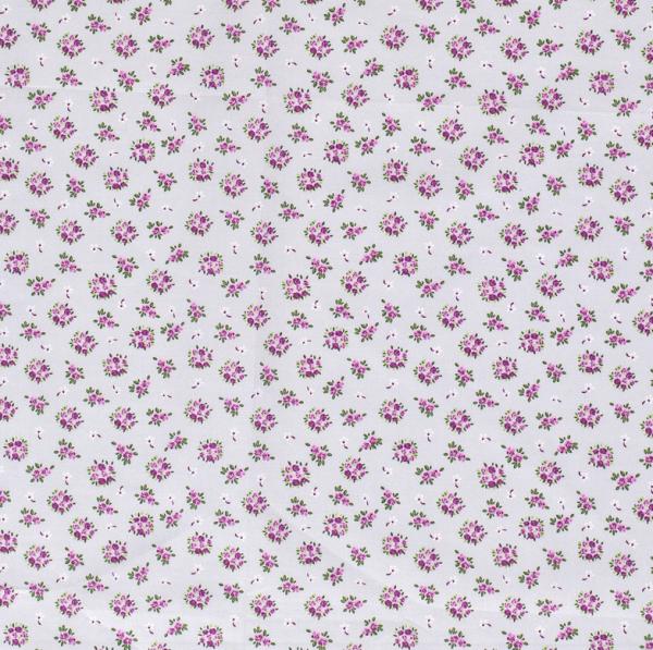 Stoff Baumwolle Popeline hellgrau Blümchen violett rosa weiss grün 0,5