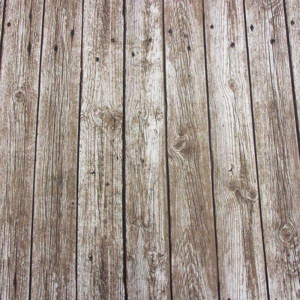 Kurzstück Stoff Fotodruck Holz Bretter Bohlen Planken breit beige braun 0,95m x 1,40m