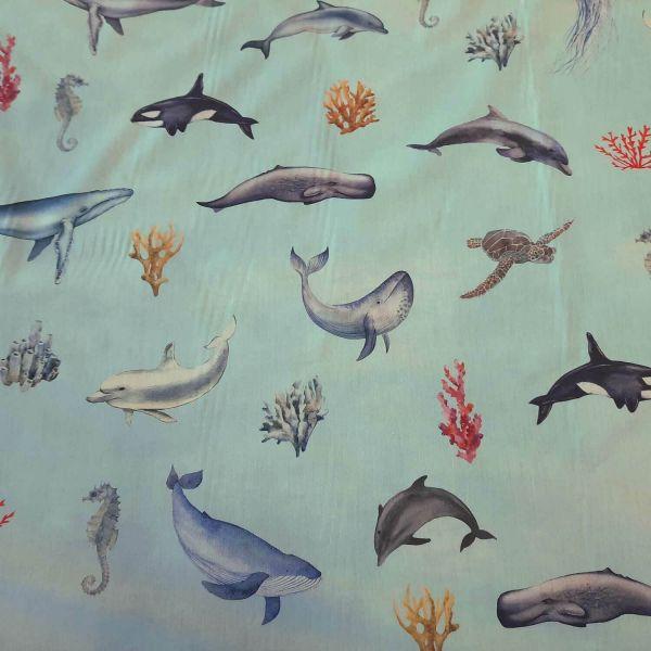 Stoff Baumwolle Percal hellblau Unterwasser Wal Delfin Qualle 0,5
