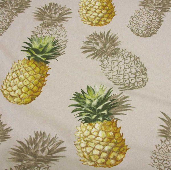 Stoff Meterware Baumwolle PES natur Ananas groß