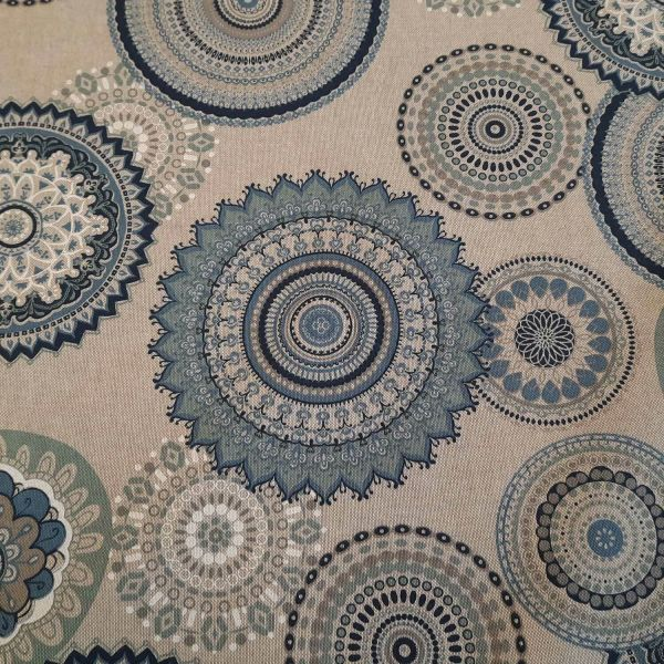 Stoff Meterware Baumwolle pflegeleicht Mandala blau jeansblau grau Kreise Deko 0,5
