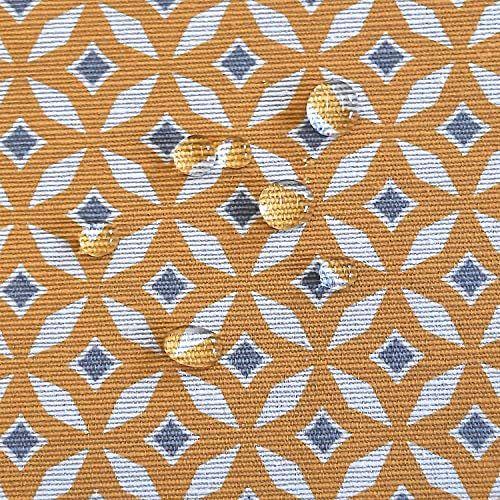 Stoff Meterware Baumwolle beschichtet gelb grau weiß Rauten Tischdeckenstoff Grafik 0,5