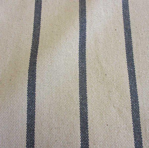 Stoff Baumwolle natur Streifen anthrazit grau Panama schwer Frankreich
