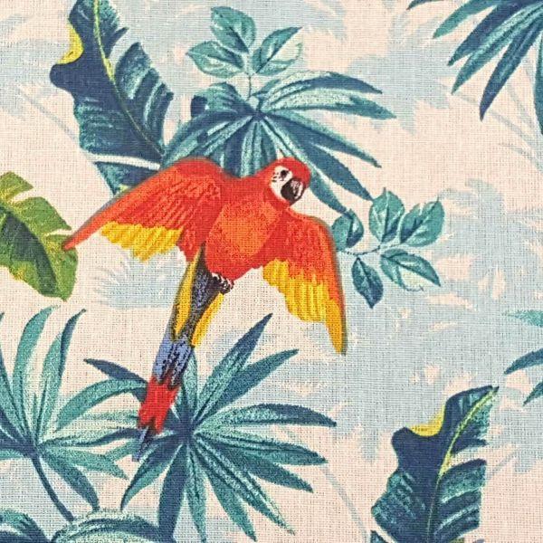 Stoff Baumwolle Papageien ecru bunt BAHIA 0,5