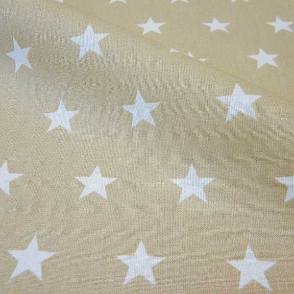 Stoff beschichtet Sterne beige weiß groß