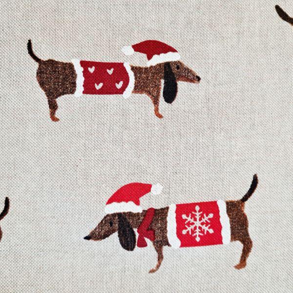 Stoff Baumwollstoff natur Dackel Weihnachten 0,5