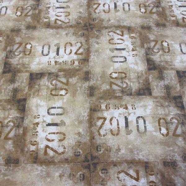 Stoff Baumwolle Meterware braun beige Zahlen shabby Dekostoff Bekleidung