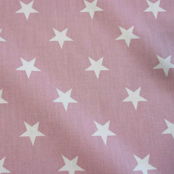 Stoff Baumwollstoff Sterne groß altrosa weiß pastell