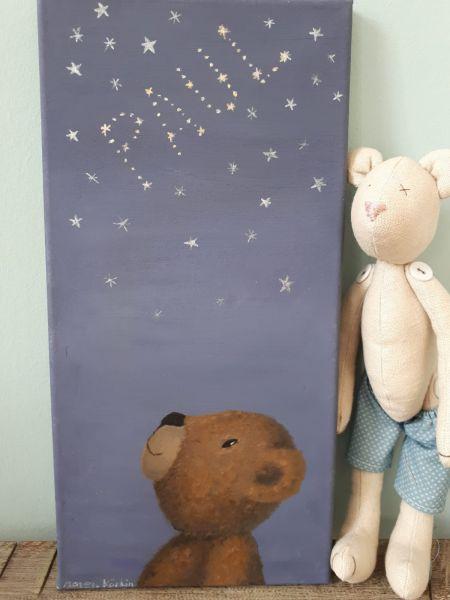 "Bild Öl auf Leinwand Teddy ""Paul"" Sterne"