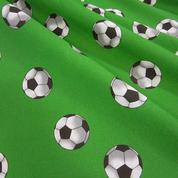 Stoff Baumwolle Fußball grün weiß Retro Meterware