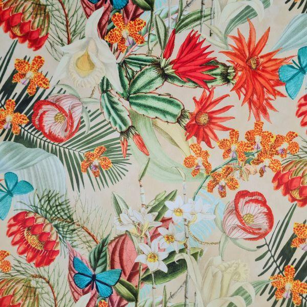 Stoff Meterware Dekosamt Velours Velvet Blumen Orchideen Schmettelinge vanillegelb bunt 0,5