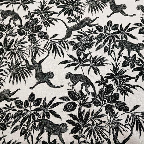 Stoff Baumwolle Meterware natur schwarz Affen Dschungel Dekostoff aus Frankreich