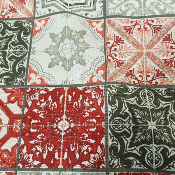 Stoff Baumwolle Kacheln rot grau Fliesen Meterware
